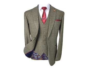 Men's Gaston Sage Slim Fit Herringbone Tweed Retro Vintage Suit