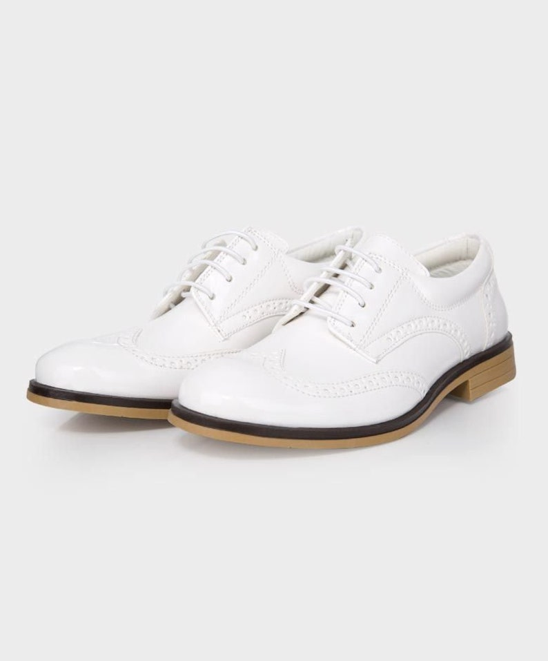 60s 70s Kids Costumes & Clothing Girls & Boys Boys Brand New Patent White Formal Brogue Shoes $37.30 AT vintagedancer.com