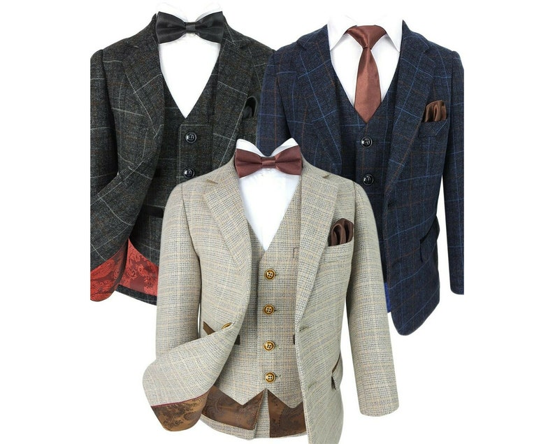 Kids 1950s Clothing & Costumes: Girls, Boys, Toddlers Boys Retro Tweed Check Suit in Beige Dark Grey and Navy Blue $109.06 AT vintagedancer.com