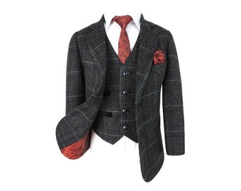 Paul Andrew Boys Check Tweed Retro Suit in Charcoal Grey