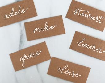 PERSONALISED TABLE NAME PLACE CARDS WEDDING BIRTHDAY RUSTIC VINTAGE KRAFT
