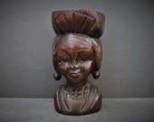 Vintage HANDCARVED AFRICAN CUP. Carved and Signed by Artisan Woodcarver in Africa.
