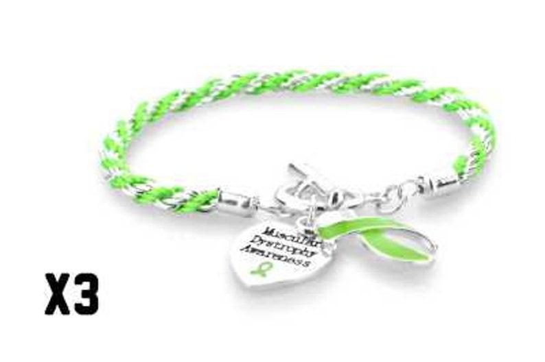 3 Pack Muscular Dystrophy Heart Bracelet