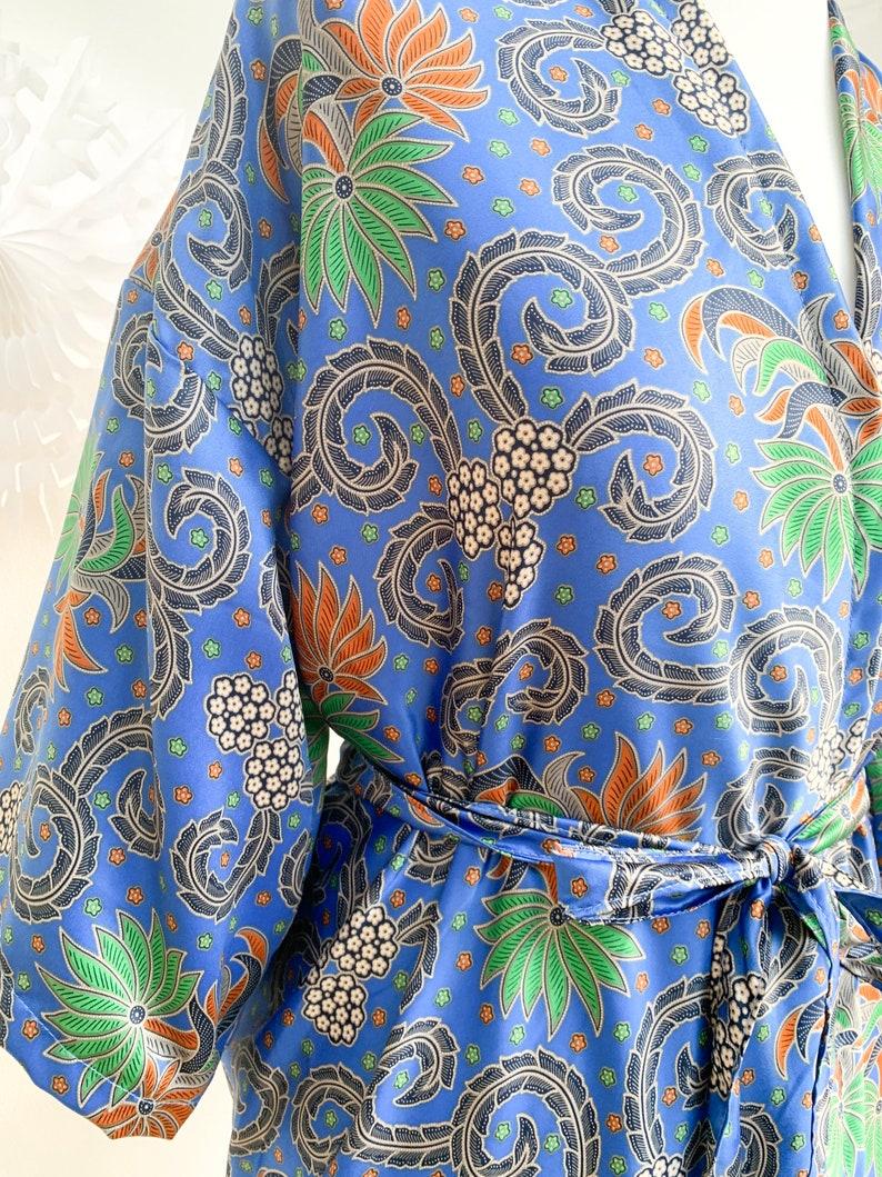 Kimono Jacket Handmade Silk Kimono Robe Paisley Floral Boho Oriental Dressing Gown Duster gown gift for her men\u2019s silk robe
