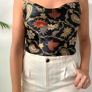 Black Silk cowl neck crop top Paisley Floral Boho Vintage Oriental Gift for her cami top tank top