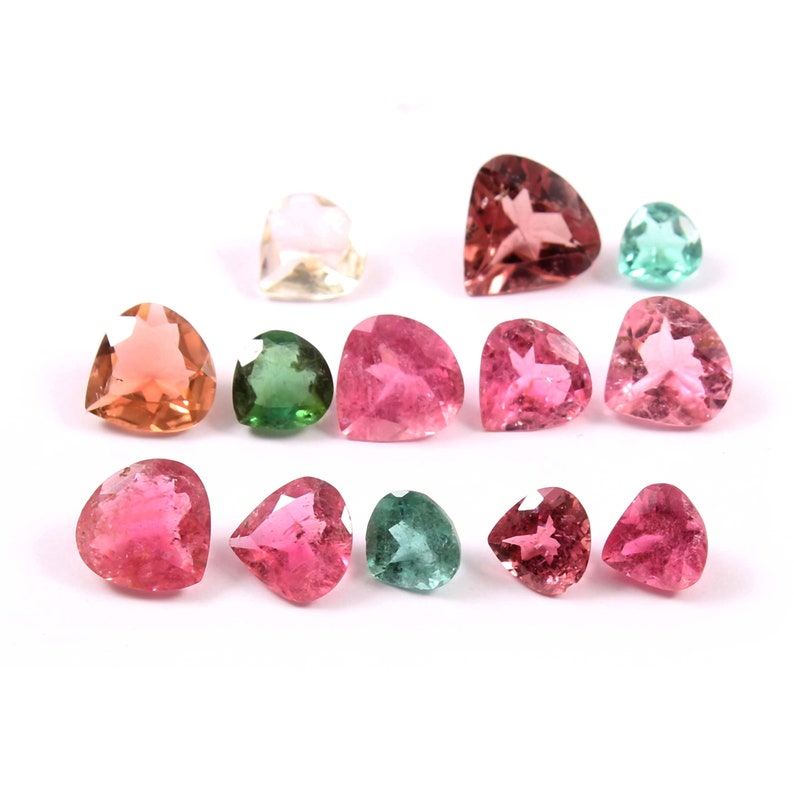 Natural Tourmaline Heart-Shape Mix Size Multi Color Tourmaline Faceted Cut Loose Gemstone Wholesale Lot 13 Pieces