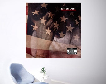 "Eminem Revival Album Poster 32x32/"" 24x24/"" 18x18/"" New Music 2017 Silk"