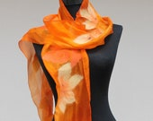felt scarf women felt Scarf with Merino Wool Felt Wool Silk Blend Scarf Felted Wrap Wool Shawl Felted Silk Scarf wearable art orange yellow