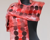 felt scarf women felt Scarf with Merino Wool Felt Wool Silk Blend Scarf Felted Wrap Wool Shawl Felted Silk Scarf wearable art red dark brown