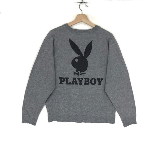 PLAYBOY BIG BUNNY Playboy Box Logo Grey Crew Neck