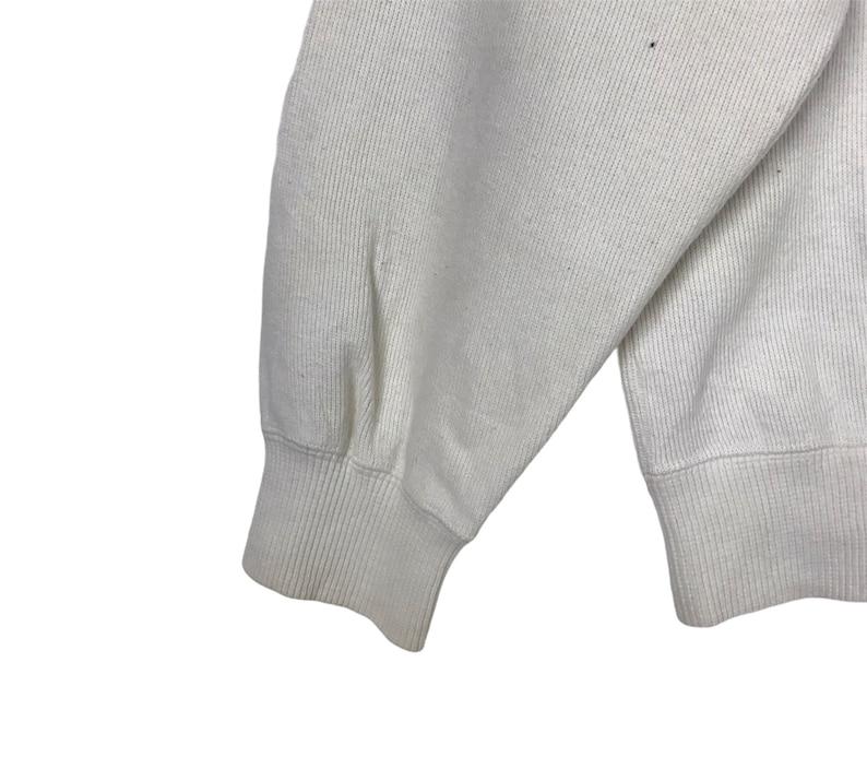 Japanese Brand Sportswear VAN JAC Embroidery Big Logo White Crew Neck Sweatshirt Size Medium