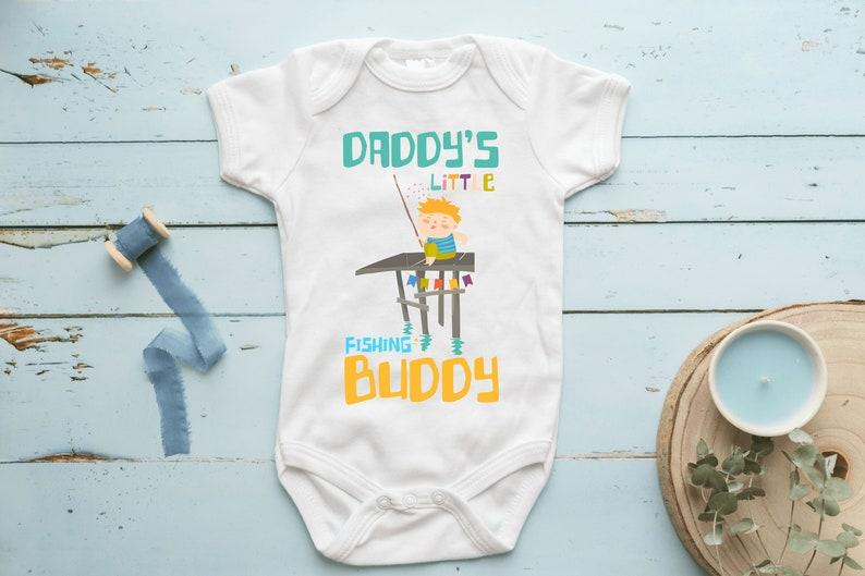 Dady Fishing Buddy Happy Funny Cool Baby Shower Boy Girl Bodysuit Romper 50