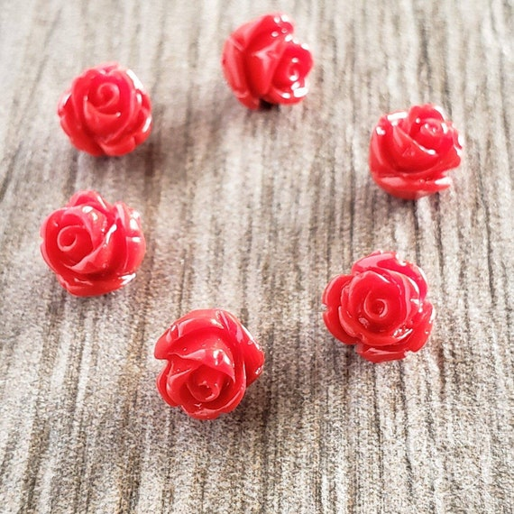 10X7MM INDIAN AGATE GEMSTONE CARVED ROSE FLOWER 10X7MM LOOSE BEADS 6 BEADS