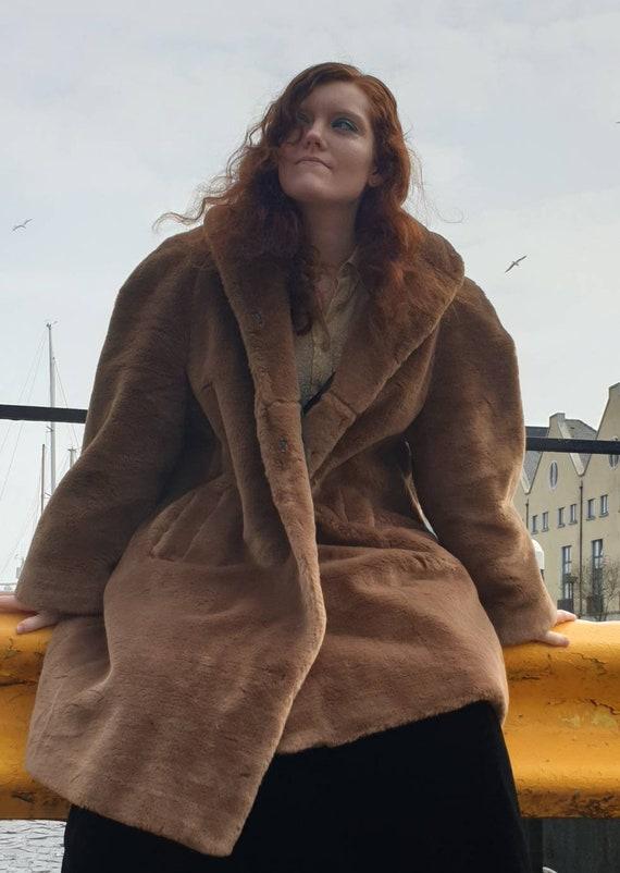 Long Caramel Brown Fur Coat - Ethical Fake Faux Fu