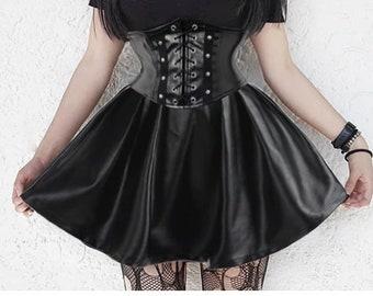 24a4a5c710ff Gothic Lolita Skirt Women Ladies Black Lolita Plaid Ball Gown 2019 High  Waist Lace Up