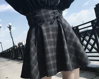 3db2a6d00d58 Gothic Lolita Skirt Women Plus Size Ladies Black Grey Plaid Ball Gown 2019  High Waist Lace Up