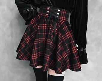 1e93d4e0de03 Gothic Lolita Skirt Women Ladies Black Red Plaid Ball Gown Plus Size 2019  High Waist Lace Up
