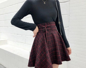 7a761c568a27 Gothic Lolita Skirt Women Ladies Black Red Plaid Ball Gown 2019 High Waist  Lace Up
