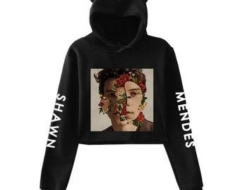 39b8946c Shawn Mendes Cute Crop Top Hooded Kawaii Harajuku Girl Printed Sweatshirt  for Women