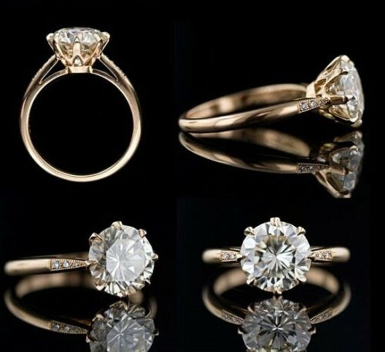 2Ct Brilliant Cut Round Next White Moissanite 8 Prong Solitaire Engagement And Wedding Promise Fancy Anniversary 14k Yellow Gold Ring