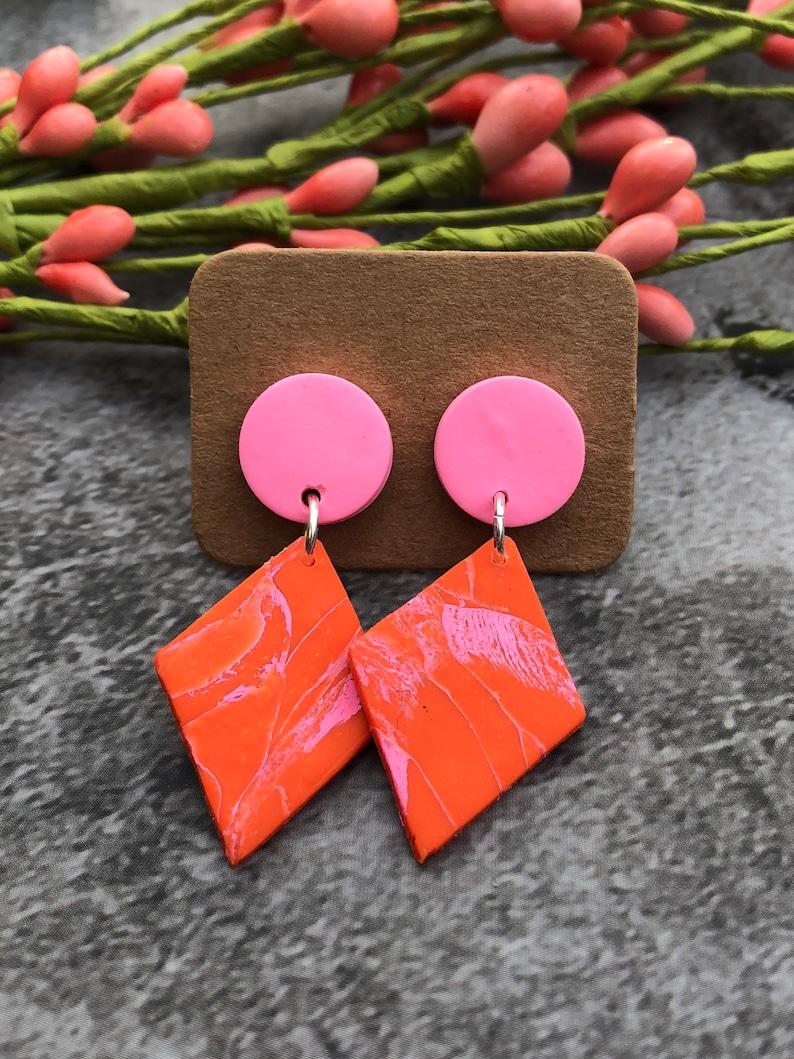 clay earrings marbled boho earrings gift for mom bridesmaid gift Polymer clay dangle earrings handmade jewelry drop earrings