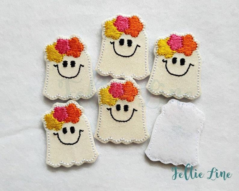 Ghost lady 4 Glitter felties Felt Embellishments Embroidery feltie Cut Felties