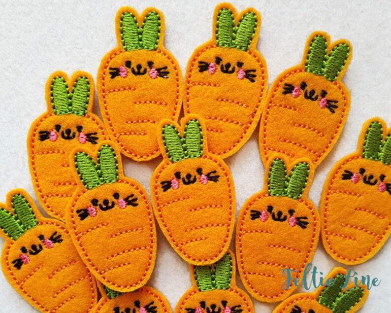 Carrot 4 felties Felt Embellishments Embroidery feltie Cut Felties