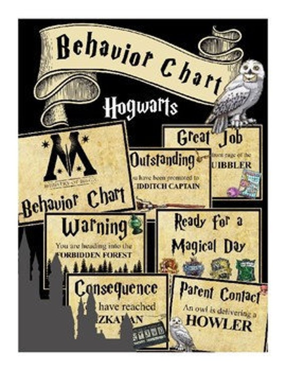 Wizarding Classroom Behavior Chart Hogwarts Harry Potter Etsy