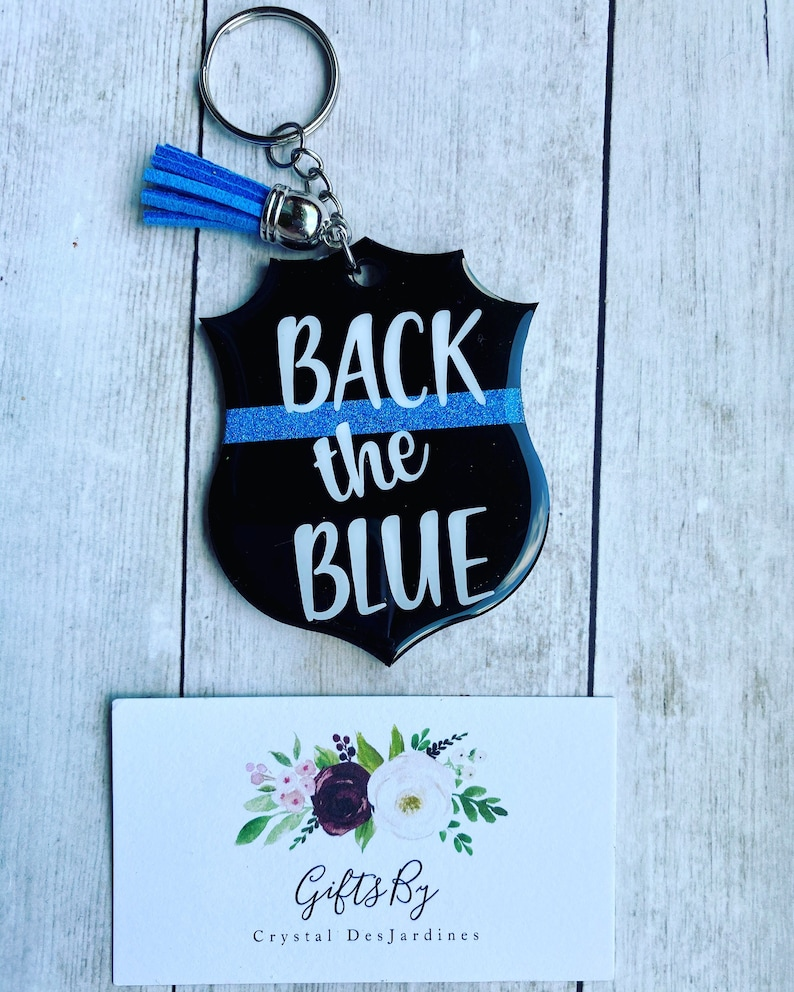 EMT | Personalized Police sheild keychain back the blue police wife gift Police gift firefighter