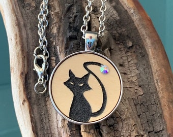Halloween black cat with rhinestone on tail, silver tone metal necklace with charm & chain. Spooky animal kitty laser cut maple wood jewerly