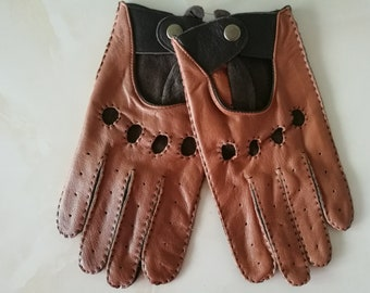 b9f3226d14014 Men's Genuine Leather driving retro Gloves, Breathable Classic Unlined Thin  Spring Summer Driving Mittens