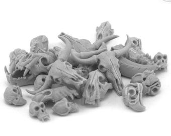 Animal Resin Skulls (24 PCs) • Terrain • Bases • for Tabletop Gaming • D&D • DnD • by Zabavka Workshop