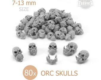 Orc Skulls (80 PCs) • 28mm • 32mm • Warhammer Fantasy Orks • Greenskins Skulls • Wargaming terrain • Bases Terrain decoration • Resin skulls
