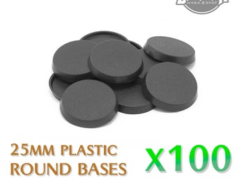 Lot of 100 PCs - 25mm Plastic Round Bases for Wargames & Tabletop games by Zabavka Workshop