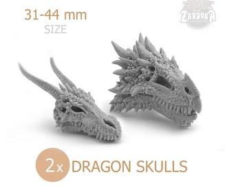 Fantasy Dragon Skulls (2 PCs) • DnD Skulls • Terrain • Bases • for Tabletop Gaming • D&D • by Zabavka Workshop