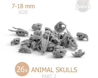 Animal Resin Skulls - 2 (26 PCs) • Terrain • Bases • for Tabletop Gaming • D&D • DnD • by Zabavka Workshop