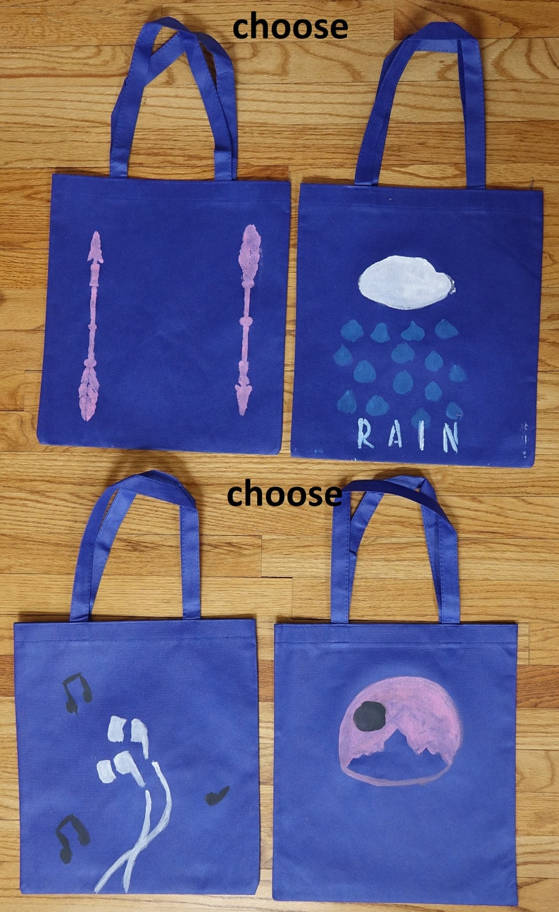 Young artist designed royal blue canvas tote bag RAINEARBUDSARROWSCaste in the moonlight art