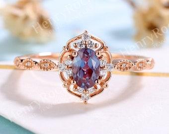 Vintage Alexandrite Engagement Ring | Rose gold ring Moissanite wedding ring | Diamond Bridal ring Milgrain Art deco ring | Anniversary ring