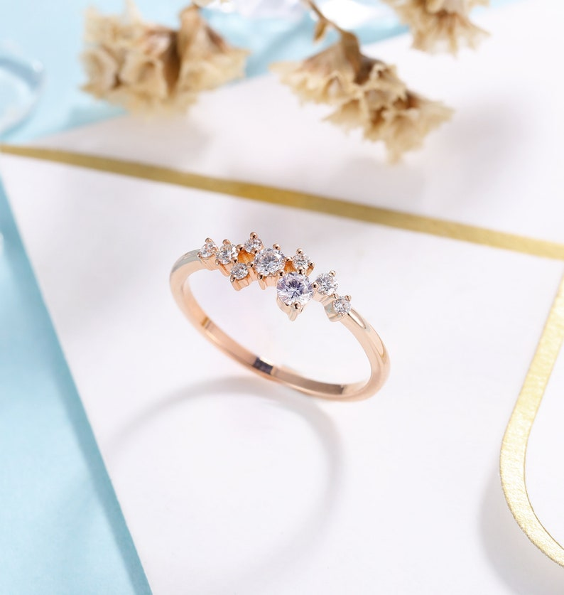 rose gold band DiamondMoissanite engagement ring women wedding ring| unique promise ring anniversary gift for her vintage bridal ring