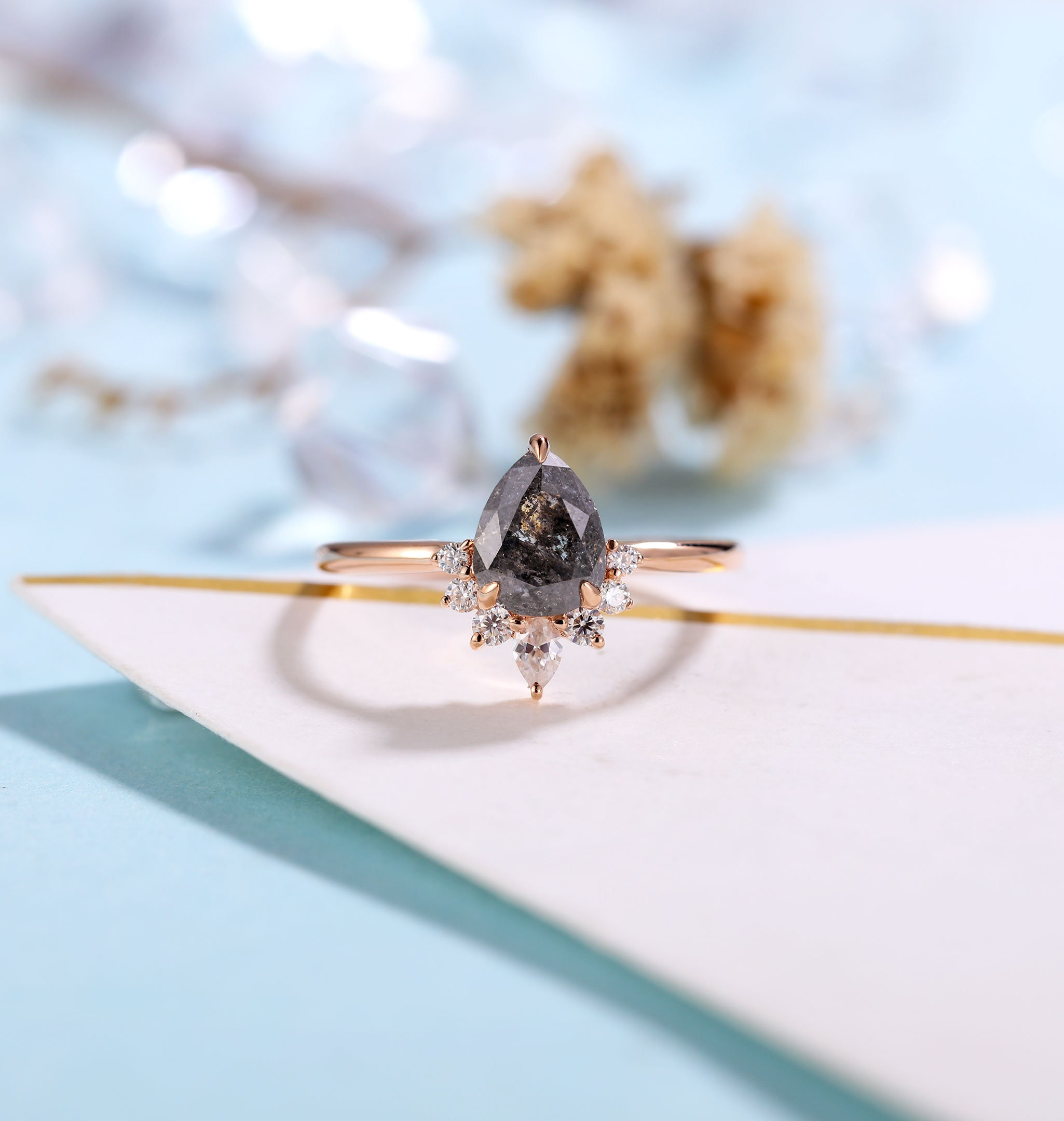 Salt and Pepper Diamond Engagement Ring Women Rose Gold image 0