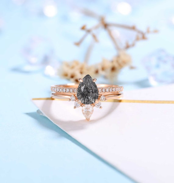 Pear shaped Black Rutilated Engagement Ring Rose Gold Women/'s Ring Antique Half Eternity Bridal Ring set Unique Wedding Set Anniversary gift