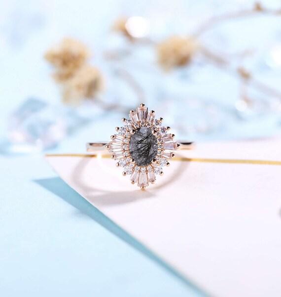 Faceted Oval cut Black Rutilated Quartz Engagement Ring Rose gold Women | Antique CZ/Diamond Bridal Marquise |Unique Promise Anniversary