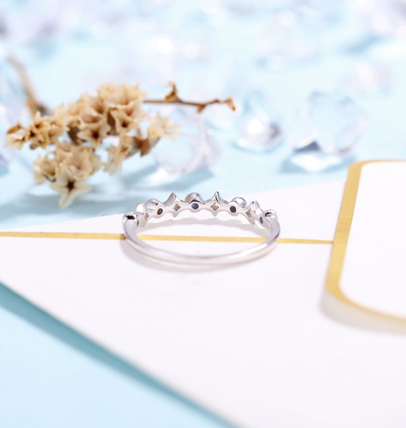 Antique Sapphire jewelry Promise Ring Delicate Wedding Band Rose Gold Women Anniversary Gift for her Vintage Diamond wedding ring