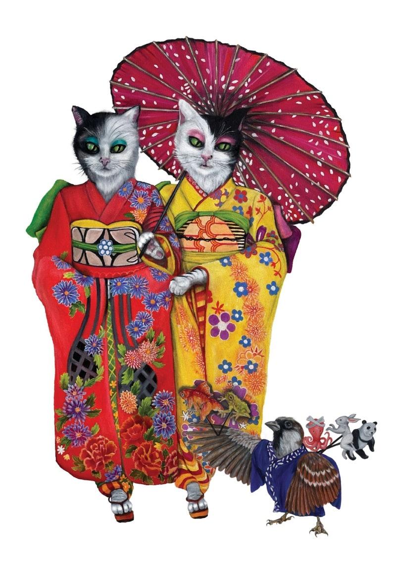 Neko Kimono Art Print image 1