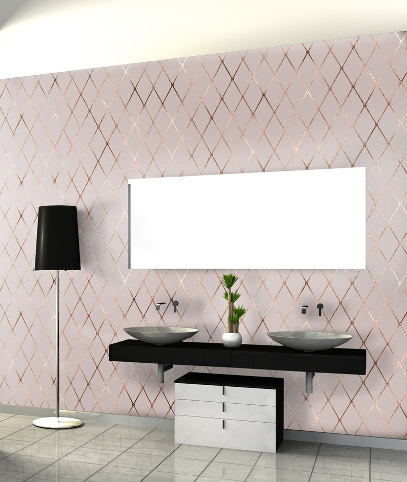 Light Pink And Rose Gold Modern Geometrical Removable Wallpaper Peel And Stick Wall Paper Home Decor