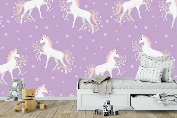 Pink Unicorn Removable Wallpaper Wallpaper Peel And Stick Etsy