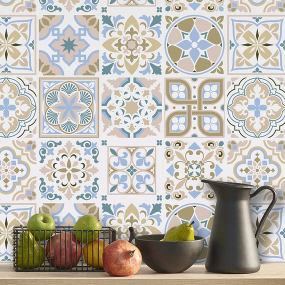 Spanish Light Sapphire Parchment Traditional Tiles Self Etsy