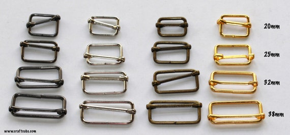 25mm Metal Sliders 1 inch x 10 bag adjustable strap craft sewing