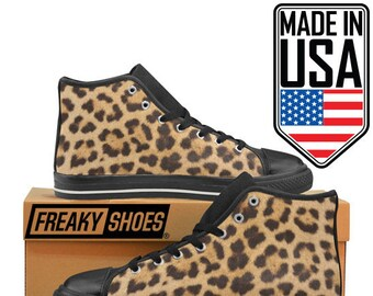 03b192cf38b6d Women's leopard print sneakers high tops retro prints patterns fun animal  prints lace up canvas Freaky Shoes Made in USA