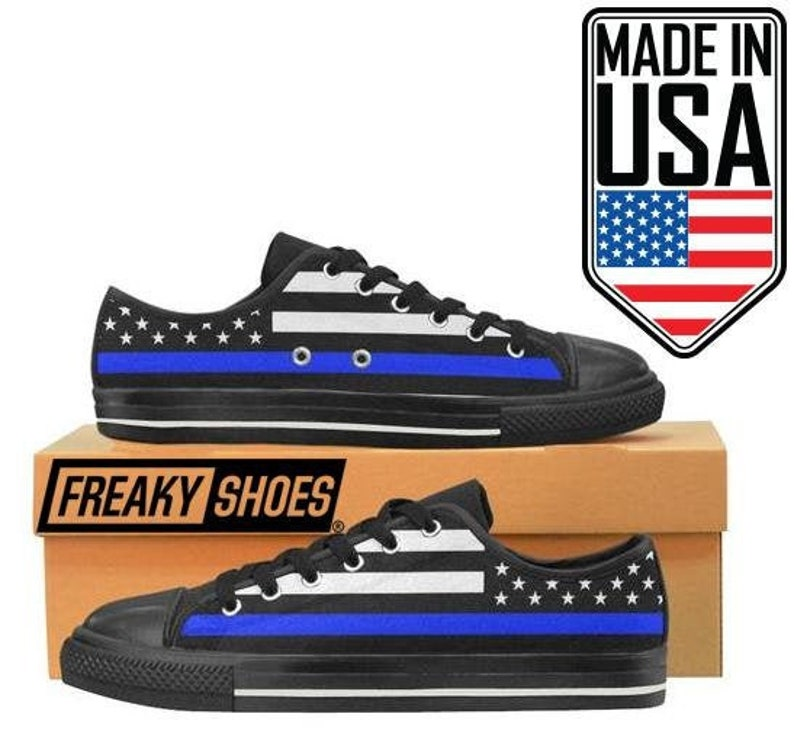 Thin Blue Line Gift For Her Women's Thin Blue Line American Police Flag Custom by Freaky Shoes